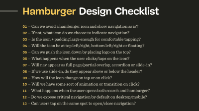 A screenshot of the Hamburger Design Checklist with 13 questions to discuss when designing and building a good navigation