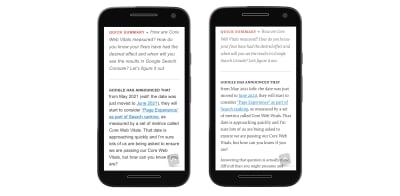 دو عکس از یک مقاله از Smashing Magazine با فونت های مختلف.  اندازه متن به طور محسوسی متفاوت است و در صورت استفاده از فونت های وب ، یک جمله اضافی می تواند جا بیفتد.