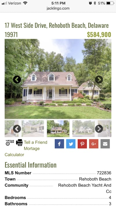 Real estate listing on the Jack Lingo website.