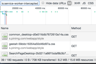 8.2 / 15.6 MB resources, and 39 / 180 requests handled by the service worker cache.