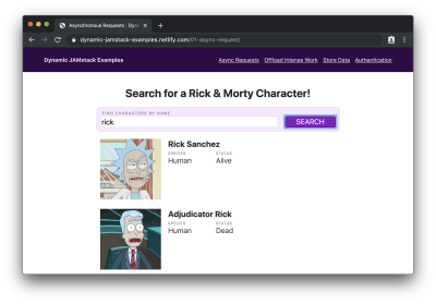 "Search form filled with ""rick"" with characters named ""Rick"" displayed below."