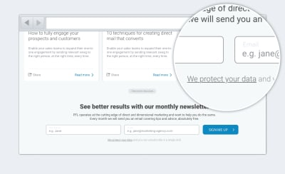 Newsletter sign up form with with privacy statement