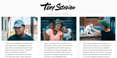 Screenshot of the Troy Stories website homepage