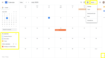 Google Calendar - view customizations