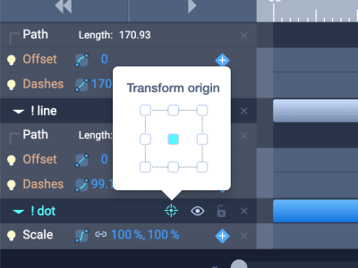 Transform origin control in SVGator's Timeline panel