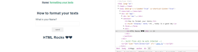 Formatting page with devtools open below it.