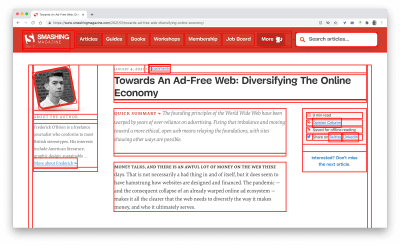 A screenshot of an article published on smashing magazine with red lines on the layout to help check the stability and rendering on the page