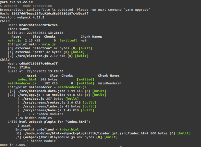 webpack compiler logs in production mode.