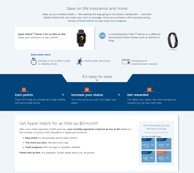 John Hancock Term Life Insurance Apple Watch offer targets walking about 10,000 steps a day.