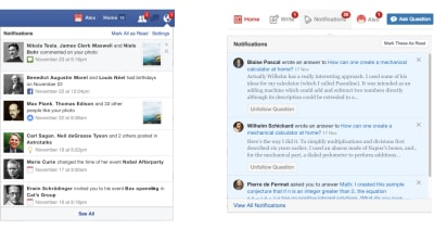 comparison of Facebook and Quora's notifications