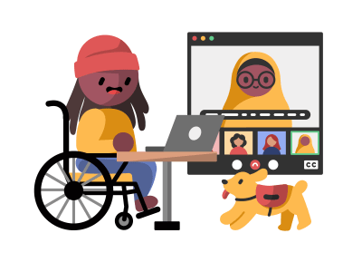 An illustration of a disabled person using a laptop to connect with other folks online