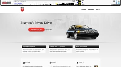 Uber website in 2011
