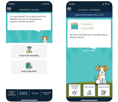 Sanofi's RA Digital Companion app focuses on helpful resources and uses encouraging language.