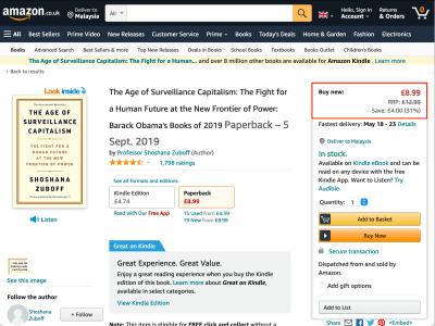 صفحه محصول در amazon.co.uk ، با قیمت پوند نشان داده شده است