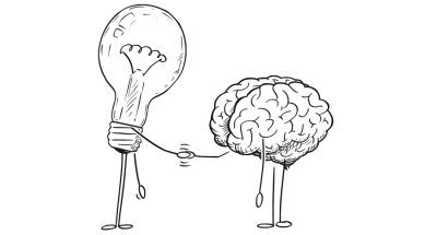 Light bulb and brain shaking hands