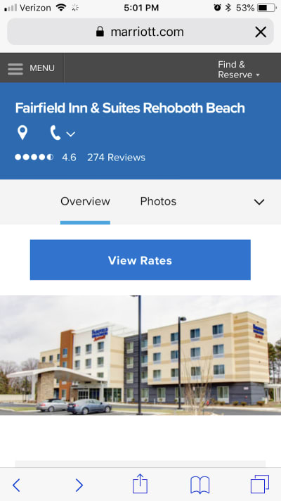The top of the Fairfield Inn & Suites page displays the average user rating as well as number of reviews.