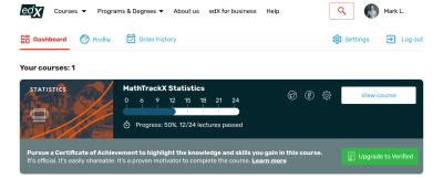 edX redesign: user profile with progress bar