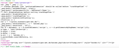 Screengrab of Matomo code from eu2020.de