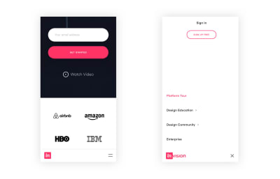 Invision website with a reimagined bottom navigation