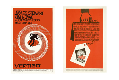Posters for the films 'Vertigo' and 'Advise & Consent'