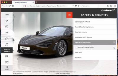McLaren's car configurator