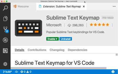 Sublime Keymap extension for VS Code.