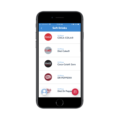 SONIC mobile app - list of soft drinks for purchase