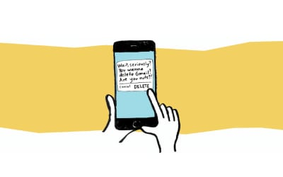 An illustration of a hand holding a phone. The phone shows a popup saying: Wait seriously? You wanna delete Gmail? Are you nuts?