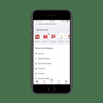 Categorías de búsqueda de la aplicación Ibotta