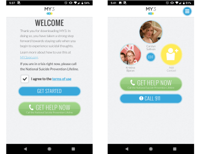 The MY3 app encourages human connections. Having a therapist, friend, family member, or other human support correlates to lower rates of suicide and depression.