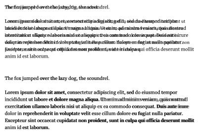 عکسهای صفحه Font Style Matcher نشان می دهد که دو مجموعه بیش از متن روی هم قرار گرفته اند و در قسمت بالا تفاوت های زیادی وجود دارد و در پایین متن بسیار شبیه است.