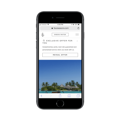 Interactive pop-up expands on mobile Four Seasons