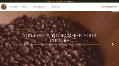 Coffee Culture Cafe website with video of coffee beans