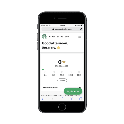 Starbucks rewards PWA