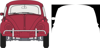 Two alpha-transparent PNG images create the classic Beetle shape.