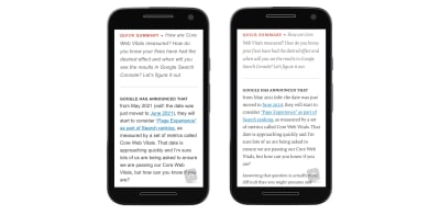 Two screenshots of a Smashing Magazine article with different fonts. The text is noticeably different sized and an extra sentence can fit in when the web fonts are used.