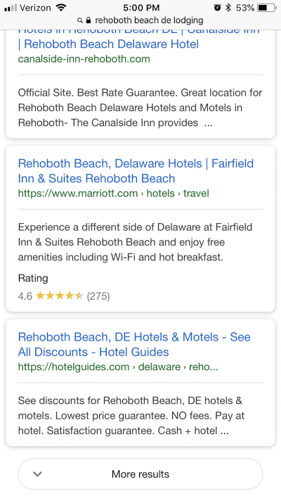 The Fairfield Inn & Suites listing includes an eye-catching rating.