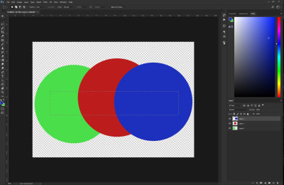 Three different colored circles with a selection box inside them