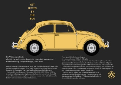 A butter yellow Beetle sits on top of two columns of running text.