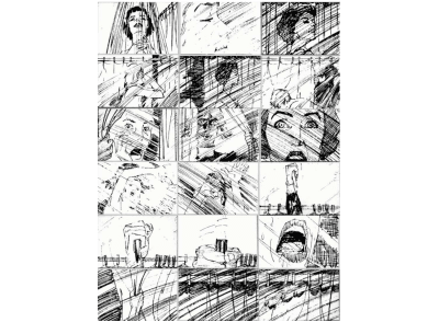 Storyboard sketches of the shower scene in the Alfred Hitchcock feature film 'Psycho'