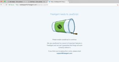 FreeAgent shows a no-JavaScript message.
