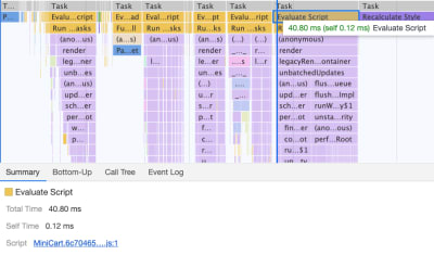 A screenshot showing JavaScript chunks affecting performance with each running no longer than 40ms on the main thread