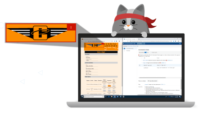 Cartoon cat and a laptop which is running the Accessibility Insights extension