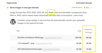 PageSpeed Insights WebP tips