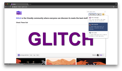 Get started by navigating to glitch.com