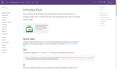 Screenshot of the Bootstrap documentation homepage