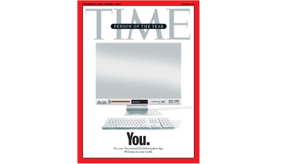 "Cover of TIME magazine presenting the person of the year as ""You"""