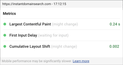Screenshot of the heads-up-display view of the Chrome Web Vitals plugin