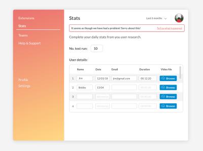 Generic website/app error message with single feedback loop