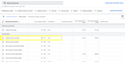 "Search for ""shopify currency app"" in Google Keyword Planner, with ""shopify currency converter"" highlighted"